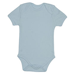 Canboli Organic Baby Short Sleeve Bodysuit (Light Blue, 6-12 Month)