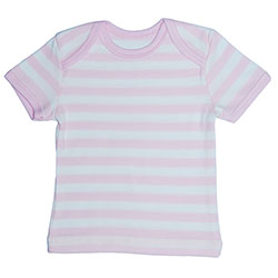 Canboli Organic Baby Short Sleeve T-shirt (Straipe Light Pink, 0-3 Month)