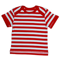 Canboli Organic Baby Short Sleeve T-shirt (Straipe Red, 3-6 Month)
