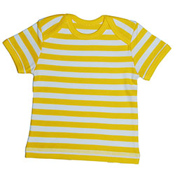 Canboli Organic Baby Short Sleeve T-shirt (Straipe Yellow, 0-3 Month)