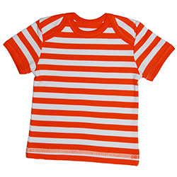 Canboli Organic Baby Short Sleeve T-shirt (Straipe Orange, 12-18 Month)