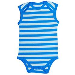 Canboli Organic Baby Short Sleeve Bodysuit (Blue Straipe, 0-3 Month)