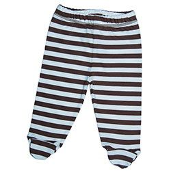Canboli Organic Baby Footed Pants (Brown Straipe, 3-6 Month)