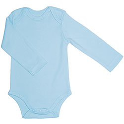 Canboli Organic Baby Long Sleeve Bodysuit(Light Blue, 12-18 Month)