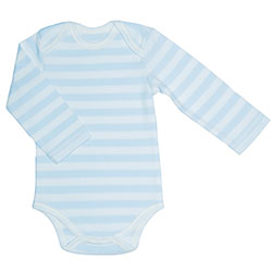 Canboli Organic Baby Long Sleeve Bodysuit(Straipe Light Blue, 0-3 Month)