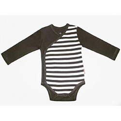 Canboli Organic Baby Long Sleeve Bodysuit (Brown Straipe, 6-12 Month)