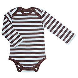 Canboli Organic Baby Long Sleeve Bodysuit(Straipe Brown, 12-18 Month)