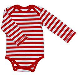 Canboli Organic Baby Long Sleeve Bodysuit(Straipe Red, 0-3 Month)