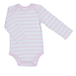 Canboli Organic Baby Long Sleeve Bodysuit (Straipe Pink, 12-18 Month)