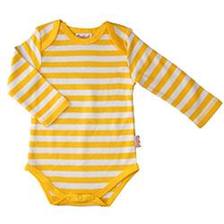 Canboli Organic Baby Long Sleeve Bodysuit(Straipe Yellow, 12-18 Month)