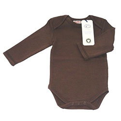 Canboli Organic Baby Long Sleeve Bodysuit(Brown, 0-3 Month)