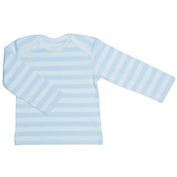 Canboli Organic Baby Long Sleeve T-shirt (Light Blue Straipe, 3-6 Month)