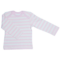 Canboli Organic Baby Long Sleeve T-shirt (Light PinkStraipe, 0-3 Month)