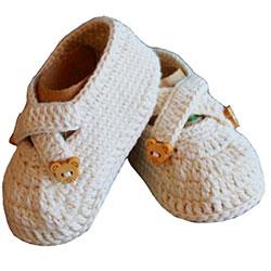 Organic Bonny Baby Organic Handmade Baby Shoe (0-6 Months, Cream)