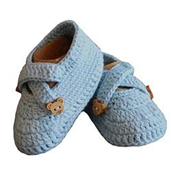 Organic Bonny Baby Organic Handmade Baby Shoe (0-6 Months, Blue)