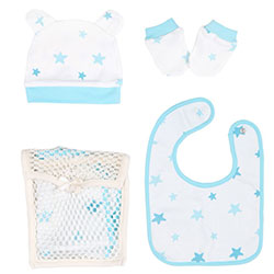 OrganicKid Accessory Set (Bib & Glove & Hat) (Blue Star)