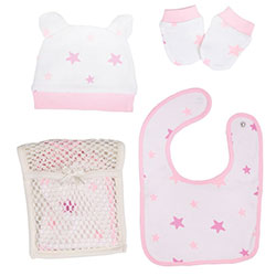 OrganicKid Accessory Set (Bib & Glove & Hat) (Pink Star)