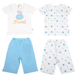 OrganicKid Organic 2 Pack Pajamas (Blue Star, 6 Age)
