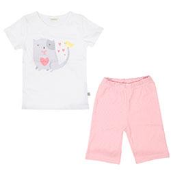 OrganicKid Organic Short Pajamas (Cat, Salmon, 5 Age)