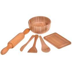 Bambum Doğal 6 Parça Minyatür Mutfak Seti (Minny)