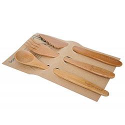 Bambum Doğal Bambu Çatal-Kaşık-Bıçak Seti (Küçük, Panada)