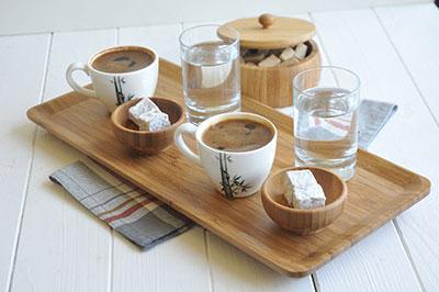 Bambum Doğal Bambu Tepsi (Espresso, Büyük)