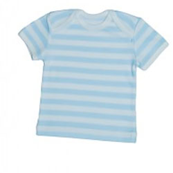 Canboli Organik Bebek Kısa Kollu T-shirt  Çizgili Açık Mavi  0-3 Ay