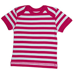 Canboli Organik Bebek Kısa Kollu T-shirt (Çizgili Fuşya, 0-3 Ay)