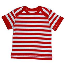 Canboli Organik Bebek Kısa Kollu T-shirt (Çizgili Kırmızı, 3-6 Ay)