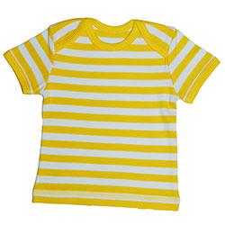 Canboli Organik Bebek Kısa Kollu T-shirt (Çizgili Sarı, 0-3 Ay)