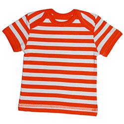 Canboli Organik Bebek Kısa Kollu T-shirt (Çizgili Turuncu, 12-18 Ay)