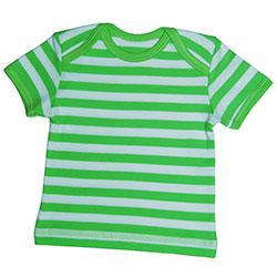 Canboli Organik Bebek Kısa Kollu T-shirt  Çizgili Yeşil  12-18 Ay