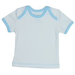 Canboli Organik Bebek Kısa Kollu T-shirt  Ekru Açık Mavi Biyeli  3-6 Ay