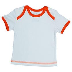 Canboli Organik Bebek Kısa Kollu T-shirt (Ekru Turuncu Biyeli, 0-3 Ay)