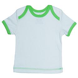 Canboli Organik Bebek Kısa Kollu T-shirt (Ekru Yeşil Biyeli, 6-12 Ay)