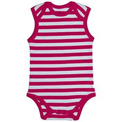 Canboli Organik Bebek Kolsuz Body (Çizgili Pembe, 3-6 Ay)