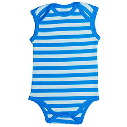 Canboli Organik Bebek Kolsuz Body  Çizgili-Mavi  0-3 Ay
