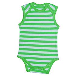 Canboli Organik Bebek Kolsuz Body (Çizgili Yeşil, 3-6 Ay)