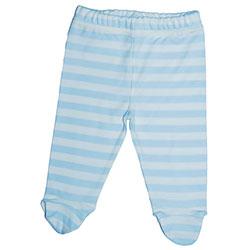 Canboli Organik Bebek Patikli Pantolon (Çizgili - Açık Mavi, 6-12 Ay)