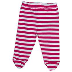 Canboli Organik Bebek Patikli Pantolon (Çizgili - Fuşya, 12-18 Ay)