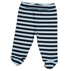 Canboli Organik Bebek Patikli Pantolon (Çizgili - Gri, 6-12 Ay)