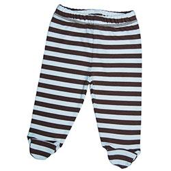 Canboli Organik Bebek Patikli Pantolon (Çizgili - Kahverengi, 3-6 Ay)