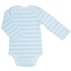 Canboli Organik Bebek Uzun Kollu Body (Çizgili Açık Mavi, 0-3 Ay)