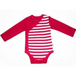 Canboli Organik Bebek Uzun Kollu Body Kimono  Çizgili Fuşya  0-3 Ay
