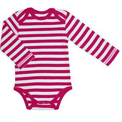 Canboli Organik Bebek Uzun Kollu Body  Çizgili Fuşya  6-12 Ay