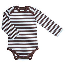 Canboli Organik Bebek Uzun Kollu Body (Çizgili Kahverengi, 12-18 Ay)