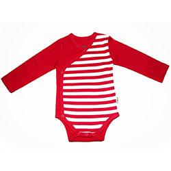 Canboli Organik Bebek Uzun Kollu Body Kimono  Çizgili Kırmızı  12-18 Ay