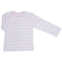 Canboli Organik Bebek Uzun Kollu T-shirt (Çizgili Açık Pembe, 3-6 Ay)