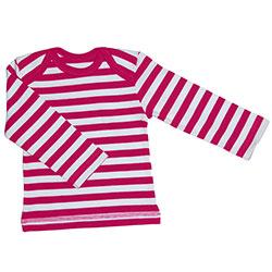 Canboli Organik Bebek Uzun Kollu T-shirt (Çizgili Fuşya, 3-6 Ay)