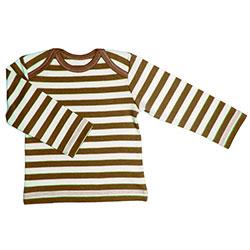 Canboli Organik Bebek Uzun Kollu T-shirt (Çizgili Kahverengi, 6-12 Ay)